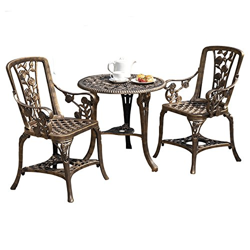 Garden Life Antique Effect Rose Design 2 Seater Bistro Patio Set Table UV-Stabilised PVC (Bronze)
