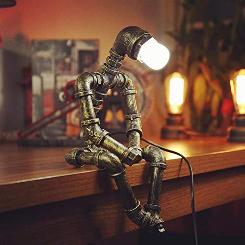 GWFUR Loft Vintage Lámparas De Escritorio Industriales - Steampunk Metal Hierro Labrado Tubería De Agua Luces De Mesa, Mesita Retro E27 Lámparas Decorativas De Sobremesa(Bombilla No Incluida)