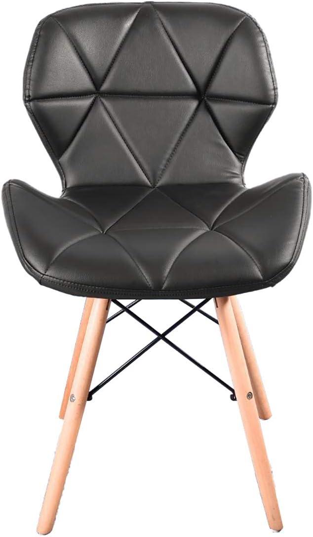 Lot de 4 chaises de bureau en cuir avec pieds en bois et cadre en métal Gris Noir