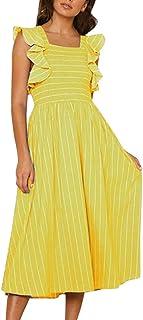 ef74c69de3 4Clovers Women s Summer Casual Sleeveless Pleated Loose Stripe Evening Party  Midi Swing Dress