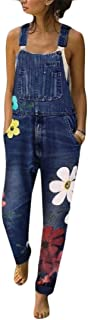 Womens Vintage Wash Floral Print Straight Leg Denim Overalls with Pocket