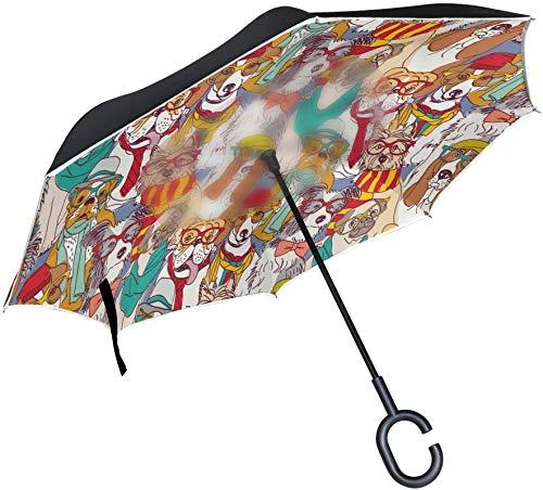 Paraguas invertido de dibujos animados de Navidad Pug Puppy Dog,mango en forma de C,a prueba de viento,a prueba de rayos UV,para viajes al aire libre,paraguas reversible para coche