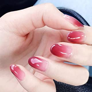 Fstrend Fashion Fake Nails Gradient Pink Full cover False Nails Wedding Birthday Party Clip on Nails for Women and Girls (24Pcs)