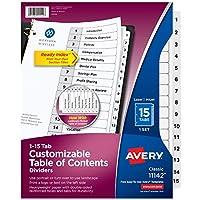 Avery Readyインデックステーブルの内容ディバイダー15-tabs 1セット(11142) Each ホワイト