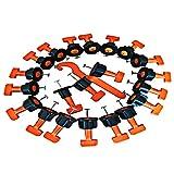 Kit de sistema de nivelación de azulejos, 50 piezas reutilizables nivelador de azulejos de Cerámica separador de nivelador herramienta de bricolaje para construir paredes, 1 piezas llave especial
