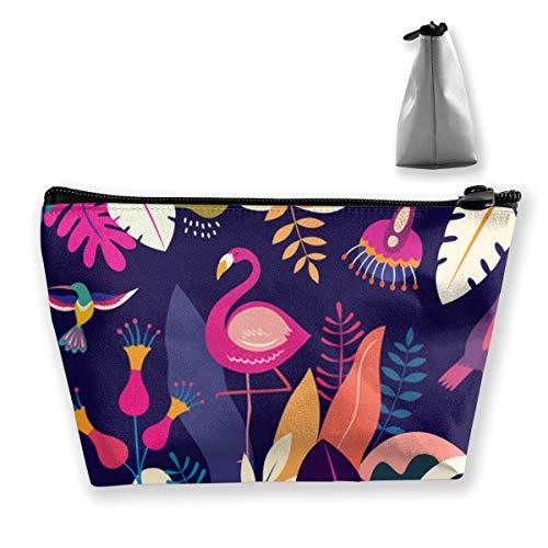 Bunte Illustration mit tropischen Blumen hinterlässt Flamingo und Vögel Brasilien TroTravel Schminktasche Tragbare Schminke Zugkoffer Frauen Kosmetikkoffer Aufbewahrungsorganisator