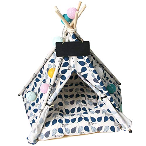 Estrella-L Pet Teepee Dog&Cat Bed - Portable Pet Tents & Houses for Dog&Cat Lace Style (with Cushion),L
