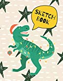 Christmas Sketchbook: This Notebook Santa T-Rex Dinosaur Cover for Drawing,Writing,Painting,Doodling,Sketching,Scribblings | Blank Unlined 109 Pages ... 3-8,Boys,Girls,Children And Who Love To Draw