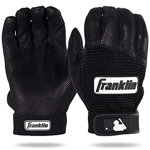 Franklin Sports MLB Pro Classic Baseball Batedor Luvas – Tamanhos adultos e jovens – Couro de qualidade premium profissional – Respirabilidade excepcional, Black/Black, Adult Large