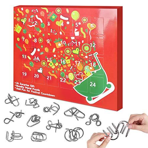 Brain Teaser Puzzle Games Challenging Puzzles for Adults Kids, Logic Mind Puzzle Fidget Toys Gift Box, 24 Pcs