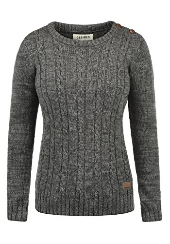 DESIRES Phia Damen Winter Strickpullover Troyer Grobstrick Pullover, Größe:S, Farbe:Dark Grey (2890)