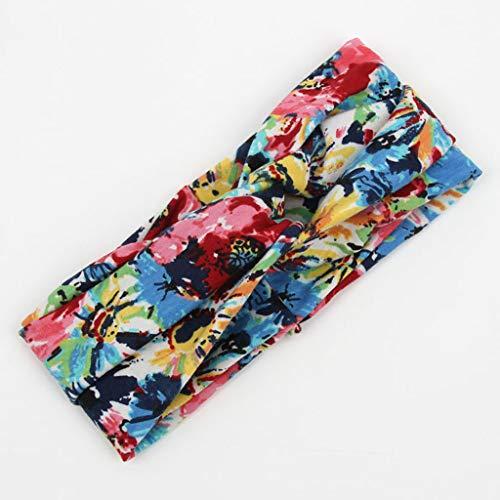1 x yoga-haarband voor dames, elastische haarband voor bloemen, retro design, bohemian haarband, katoen, bedrukt