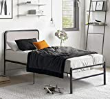 Amerlife Twin XL Bed Frame/Platform Bed with Upholstered Headboard & Upgraded Steel Slats - Heavy Duty Metal Mattress Foundation/No Box Spring Needed/Easy Assembly/Noise-Free, Light Grey