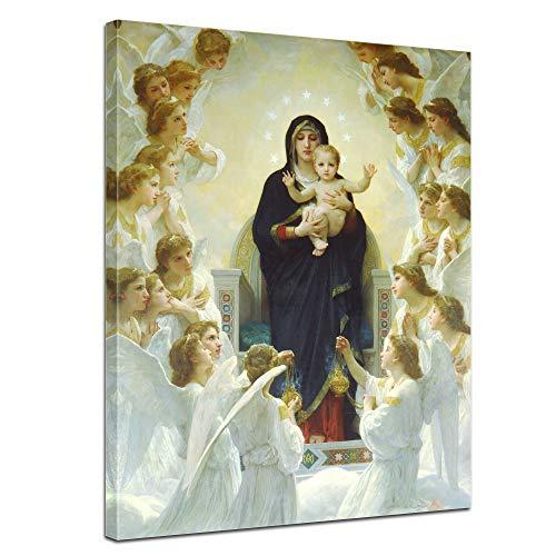 Bilderdepot24 Leinwandbild William-Adolphe Bouguereau Die Jungfrau mit Engel - 60x80cm hochkant - Christliche Kunst Madonna Glaube Religion