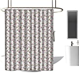 <span class='highlight'><span class='highlight'>TimBeve</span></span> Modern Luxurious Shower Curtain Vintage,Magnolia Leaves with Greyscale Quatrefoil Pattern Background,Pale Grey Pale Pink Fern Green,3D Effect Bathroom Curtain 36
