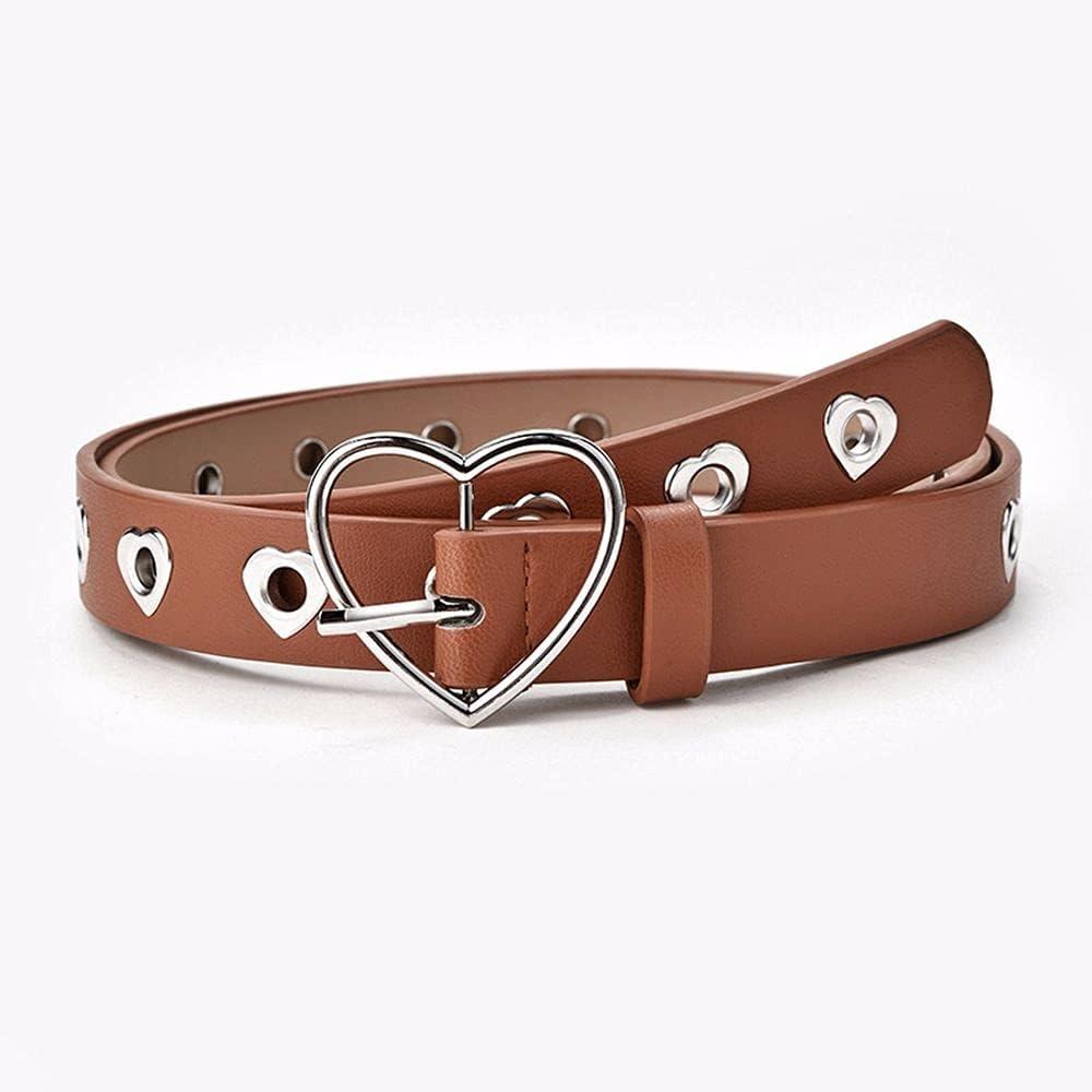 TUWAN Harajuku Leather Manufacturer OFFicial shop Belts for Women Heart Metal New arrival Buckle Belt W
