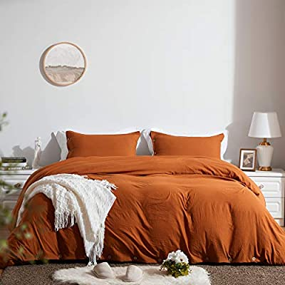 SunStyle Home Queen Size Duvet Cover Set with Buttons Closure Umber Washed 100% Microfiber, 3 Pieces Solid Color Ultra Soft Skin-Friendly Comforter Cover Set, (1 Duvet Cover +2 Pillowcases) from SunStyle Home