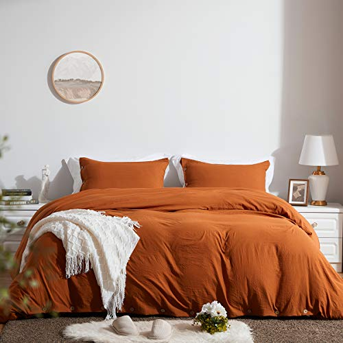 SunStyle Home Duvet Cover Set with Buttons Closure Queen Size-Umber Washed 100% Microfiber,3 Pieces Solid Color Luxurious Ultra Soft Skin-Friendly Comforter Cover Set,(1 Duvet Cover +2 Pillowcases)