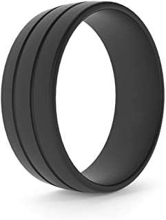 CHSTAR Silicone Wedding Rings for Men - Premium Fashion Forward Men Silicone Rubber Wedding Bands, Size 8 9 10 11 12 13, Hypoallergenic Medical Grade Silicone Ring for Men - Classic Style.