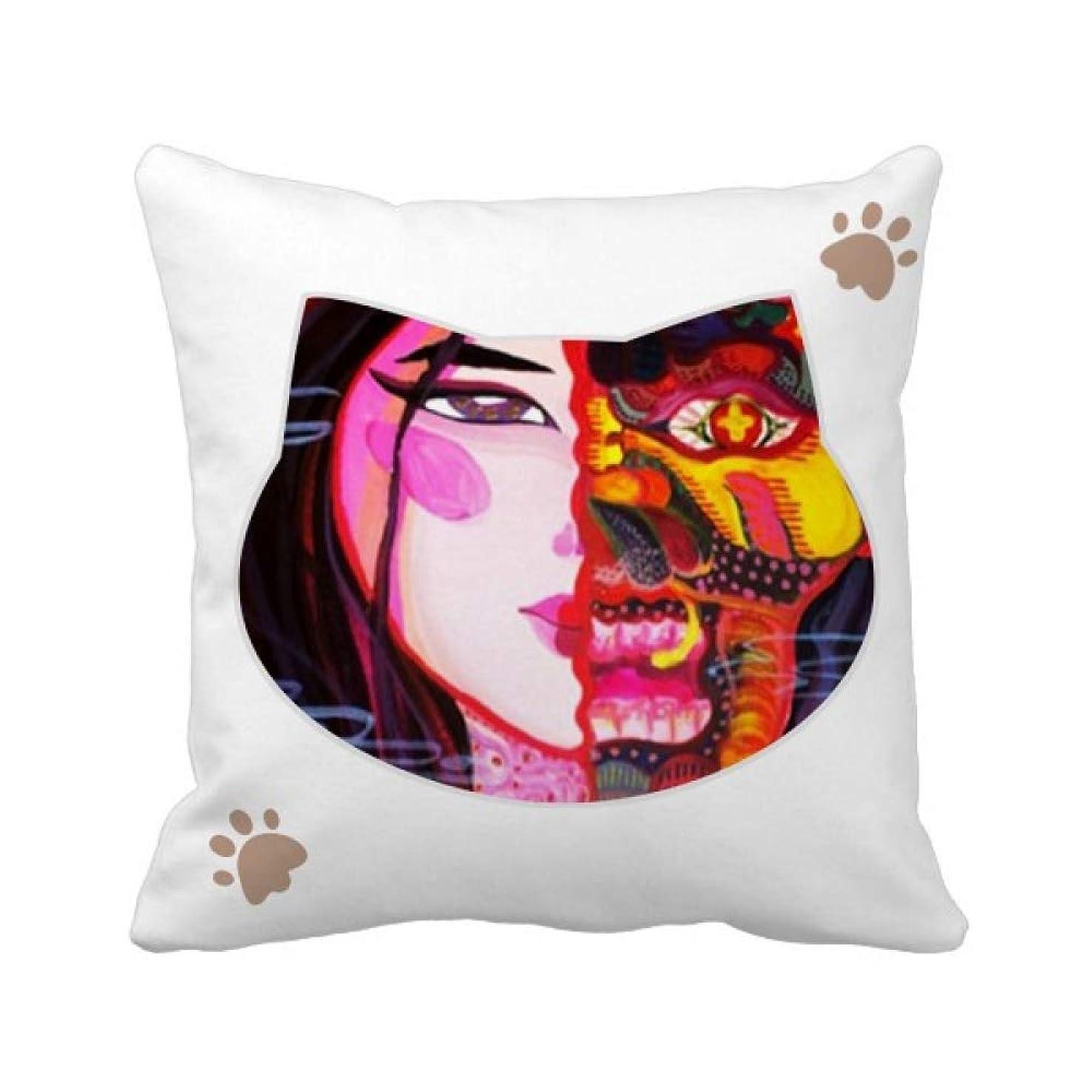 帽子サイト細胞幻滅abstracyアート 枕カバーを放り投げる猫広場 50cm x 50cm