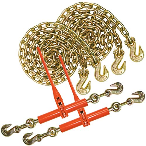 VULCAN Chain and Load Binder Kit - Grade 70-3/8 Inch x 10 Foot - 6,600 Pound Safe Working Load