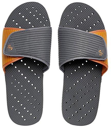 Showaflops Mens' Antimicrobial Shower & Water Sandals for Pool, Dorm, and Gym - Grey/Orange Slide 7/8