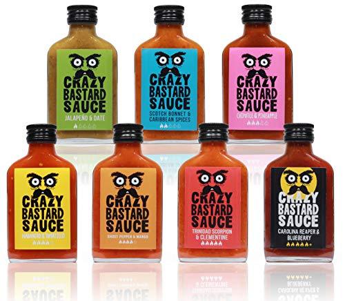 Crazy Bastard Sauce - Alle 7 bundle mild bis extreme scharfe Chilisauce (7 x 100mL Flasche)