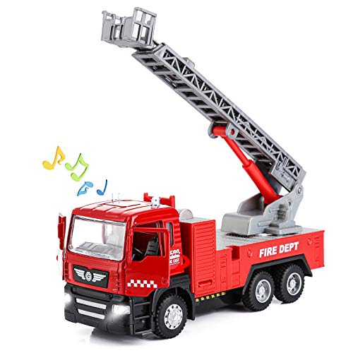 Metal Micro Fire Truck Extending Rescue Rotating Ladder Toy Truck for Boys 3 4 5 6 7 Year Old(Ladder Truck)