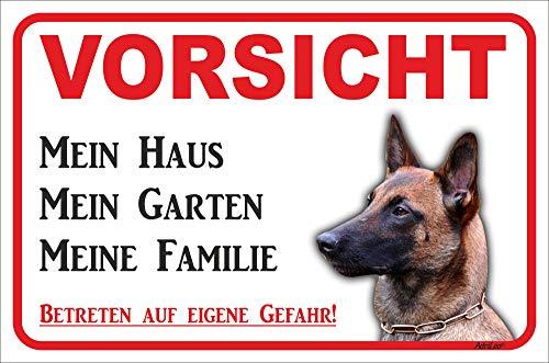 AdriLeo Schild - Vorsicht Malinois - Mein Haus - (15x20cm) / Achtung Hund Wachhund