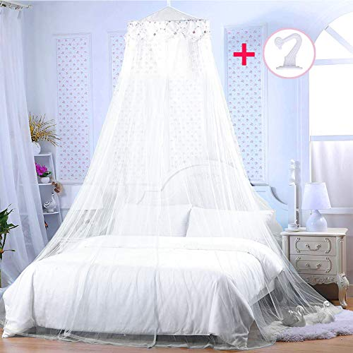 BCBYou Princess Bed Canopy Netting Mosquito Net Round Lace Dome Girl Play Tent Reading Nook Baby Kids Games House for Twin Full and Queen Size Beds Crib with Jumbo Swag Hook (White)