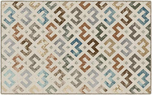 Brumlow MILLS Felix Tribal Print Washable Earth Tone Color Indoor or Outdoor Rug for Living or Dining Room, Bedroom and Kitchen Area, 5' x 7'6