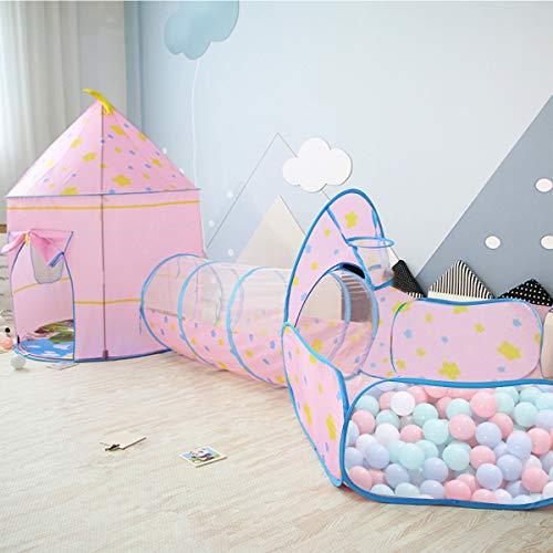 OldPAPA Kinderzelt Spielzelt, Traumzelt Pop-up Kriechtunnel und Bällebad 3 in 1 Innen Spielhaus Tragbar Ideal für Baby Kleinkinder Jungen Mädchen(Rosa)