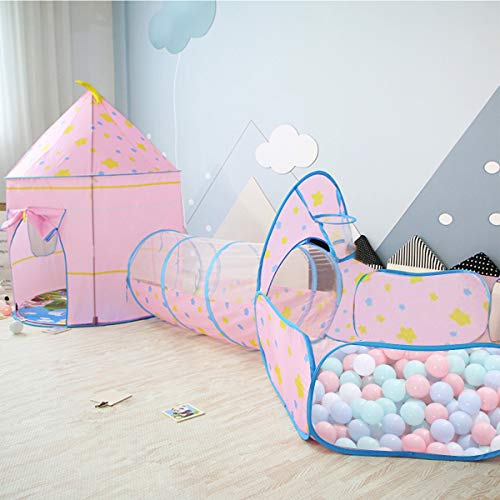 OldPAPA Kids Play Tent, Castle Tent Pop Up Crawl Tunnel and Ball Pool 3 in 1 Indoor Playhouse Portable for Baby Toddlers Children