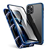 ZHIKE Compatible with iPhone 12 Series Case, Anti-Peep Magnetic Adsorption Case Front and Back Tempered Glass Full Screen Coverage One-Piece Design Flip Privacy Cover