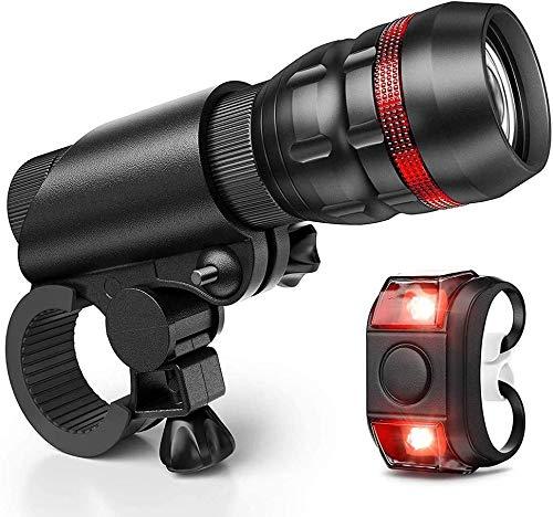 ZOUSHUAIDEDIAN Luz moto - Super brillantes luces LED for su bicicleta - Fácil montaje del faro y luz trasera con Quick Release System - Mejor delantero y luces de bicicletas trasero - Se adapta a toda