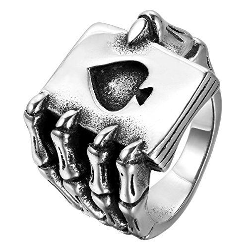 JewelryWe Mens Stainless Steel Ring, Gothic Skull Hand Claw Poker Playing Card, Black Silver,Size 9