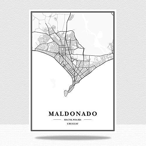 Cuadro en Lienzo,Uruguay Maldonado City Maps Modern Black and White Minimalist Poster, Canvas Imprime Arte De Pared, Pintura No Tejida Imagen De Arte, Sala De Estar Vertical Café Decoración De