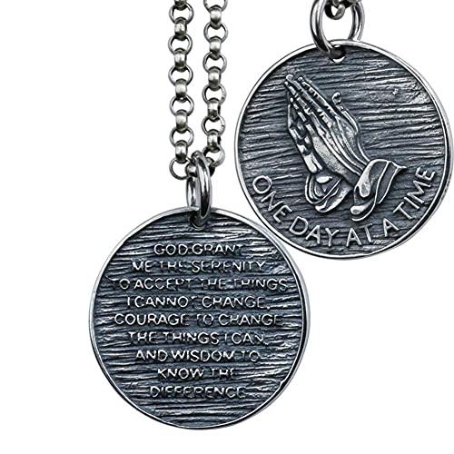AMOZ 聖書の詩のネックレス 925 スターリングシルバー祈る手男性クリスチャン少年のためのペンダントネックレス,ハルスケット80Cm