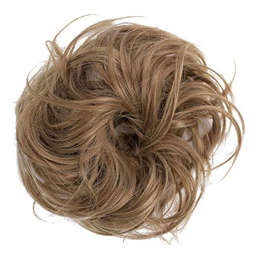 PrettyWit Haarstukken Korte Krullend Haarverlenging Pluizig rommelig Haar Bun Updo Haarstukje Pruik Scrunchy Bruid-Zwart 1 Brown & Golden Blonde 12T24