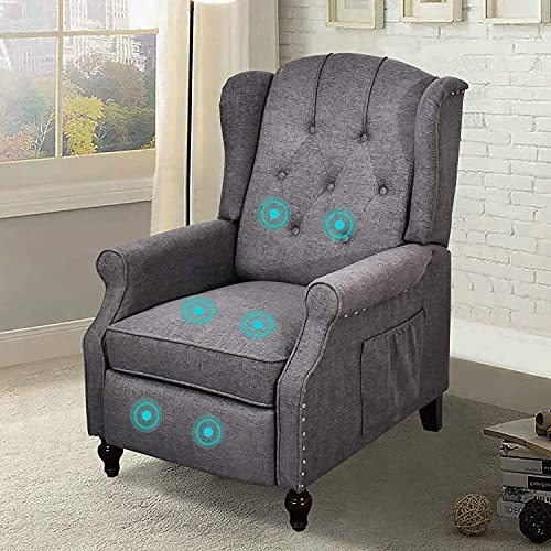 Recliner Chair, Accent Living Room Chairs with Massage, Comfy Tufted Upholstered Wingback Reading Chair Sofa, Mid-Century Modern Club Armchair, Linen/Wooden Legs (Gray)