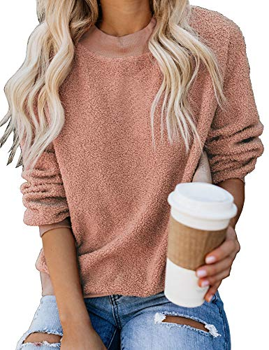 GRAPENT Women's Pink Casual Crewneck Cashmere Sweatshirt Long Sleeves Terry Thread Fuzzy Fleece Pullover Top Large US 12-14