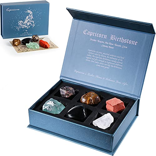 Faivykyd Capricorn Crystal Gift-Zodiac Sign Stones to Complement The Birthstone-Natural Healing Crystals with Horoscope Box Set