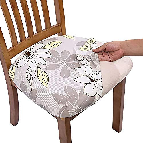 Mazu Homee Stretch Printing Dining Chair seat Cover, Removable and Washable dustproof upholstered Chair seat Cover, Used in Restaurants, Kitchens, Offices
