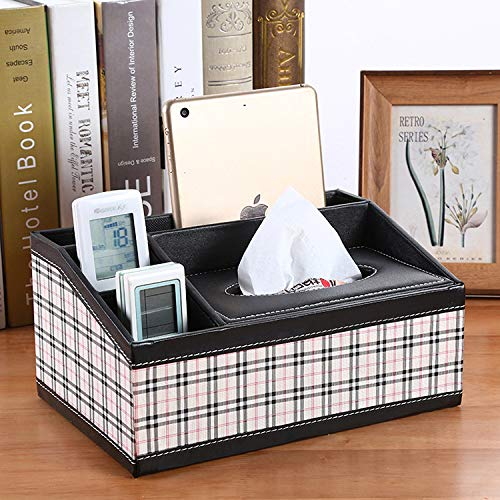 MIDUO Multifunction Leather Car Tissue Box Home Table Napkin Box Tissue Pumping Tray Storage Box,Black And White Lattice - Ladder Four