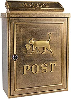 CTO Wall-Mount Letterboxes Mailbox European Villa Outdoor Rainproof Mailbox, Postbox Pastoral Creative Letter Box with Waterproof Lid for Walls/Gates/Garages/Post Post Box Mailbox,Brown