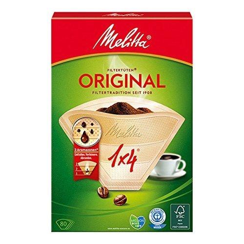 Melitta, 80 filtri per caffé, Dimensioni 1x4, Per caffettiera a filtri, Original, Scuro