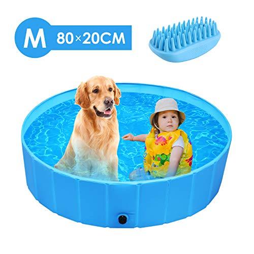 femor Hundepool Swimmingpool Für Hunde und Katzen Schwimmbecken Hundebadewanne Faltbarer Pool mit PVC-rutschfest Verschleißfest Für Kinder M