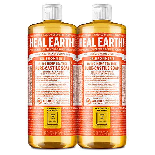 Dr. Bronner's - Pure-Castile Liquid Soap (Tea Tree, 32 ounce, 2-Pack) - Made with Organic Oils, 18-in-1 Uses: Acne-Prone Skin, Dandruff, Laundry, Pets and Dishes, Concentrated, Vegan