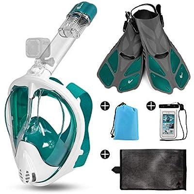 Odoland 5-in-1 Snorkeling Packages, Full Face Snorkel Mask with Adjustable Swim Fins, Lightweight Backpack and Waterproof Case, Anti-Fog Anti-Leak Snorkeling Masks Gear for Men Women, Olive Green, L