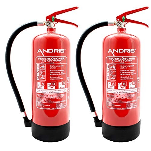 2X Orig. ANDRIS® Feuerlöscher 6kg ABC Pulverlöscher mit Manometer EN 3 inkl. ANDRIS® Prüfnachweis mit Jahresmarke & Wandhalterung